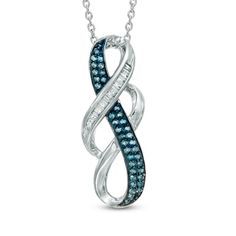 1/6+CT.+T.W.+Enhanced+Blue+and+White+Diamond+Double+Infinity+Pendant+in+Sterling+Silver