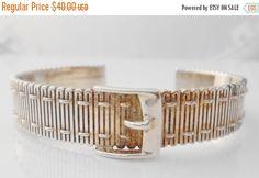 Sterling Buckle Cuff Bracelet Signed CCO Belt by Libbysmomsvintage