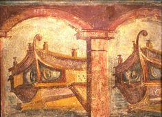Pompeii painting. Ships in Harbour, wall painting Naples Archaeological ... The recent discovery of Portus near Ostia shows how realistic this painting is.