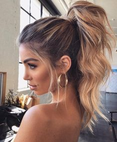 hair trends These Winter Hairstyles Will Take Your Breath Away - Prom hair - Winter Hairstyles, Pretty Hairstyles, Easy Hairstyles, Wedding Hairstyles, Messy Ponytail Hairstyles, Sleek Ponytail, Formal Hairstyles, Hairstyle Ideas, Formal Ponytail