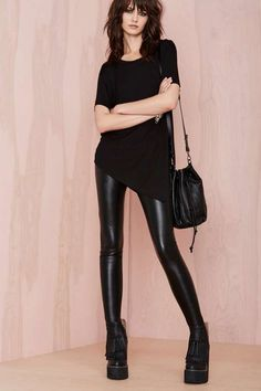 black T and leather skinnies