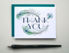 Peacock Feathers Thank You Card | Sarah Barga Pollasch