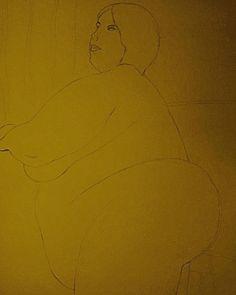 "Preliminary sketch for new watercolour, ""La Gitane - Fière, Grosse et Belle"", 770mm x 570mm, 18/01/18"