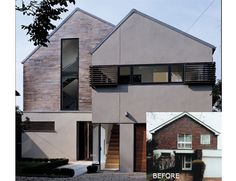 Like: Combination of timber cladding with render and dark window frames, colour of timber and especially the render.