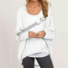 ?? COMING SOON ?? Baggy Hi-Lo Top White Polyester. This is a semi sheer (you'll probably want to wear tank top under it) lightweight thin textured sweater. Baggy Hi-Lo top L Approximate Length front 21 back 30. Bust 29 armpit to armpit.  PRICE FIRM unless Bundled Sweaters
