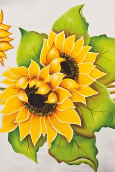 Elabora paso a paso un primaveral camino de mesa con girasoles China Painting, Tole Painting, Fabric Painting, Painting & Drawing, Flower Hair Bows, Flower Art, Colored Pencil Techniques, One Stroke Painting, Art Techniques
