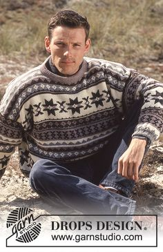 "Drops Ladies and Gents Fair Isle Sweater in ""Karisma Superwash "". Jumper Patterns, Drops Patterns, Knitting Patterns Free, Free Knitting, Free Pattern, Drops Design, Fair Isle Knitting, Mens Jumpers, Wool Sweaters"