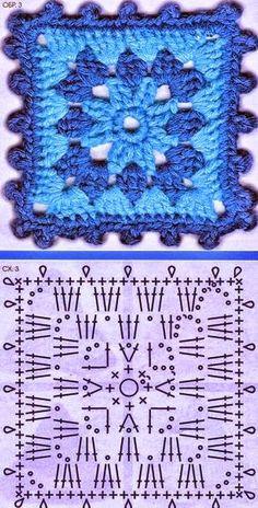 68 Ideas Crochet Hat Flower Blankets For 2019 Crochet Motifs, Granny Square Crochet Pattern, Crochet Diagram, Afghan Crochet Patterns, Crochet Chart, Crochet Squares, Crochet Granny, Diy Crochet, Granny Squares