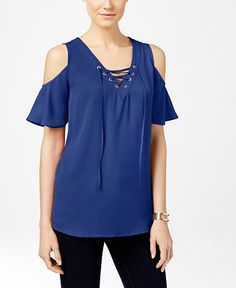 INC International Concepts Lace-Up Cold-Shoulder Blouse, Only at Macy's - Tops - Women - Macy's