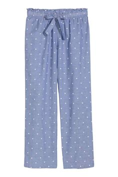 Patterned pyjama bottoms in a soft, airy cotton weave with an elasticated drawstring waist and wide, straight legs. Cotton Pyjamas, Pajamas, Pijamas Women, Pajama Pattern, Sewing Pants, Pj Pants, Fashion Pants, Night Gown, Blouses For Women