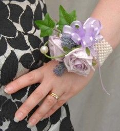 Cottage Garden Style Lilac Rose Wrist Corsage Pearl Band