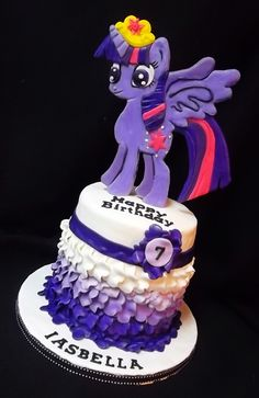 My little pony twilight sparkle cake https://www.facebook.com/coveredinsugarcustomcakes