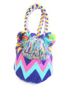 Wayuu Mochila Handbag Short Handel pastel M
