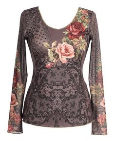 Michal Negrin Long Sleeves Shirt Adorned with Lace Like and Victorian Floral Motifs Accented with Sparkling Swarovski Crystals and Merrow Edge Finish; Handmade in Israel - Size M Michal Negrin,http://www.amazon.com/dp/B0088OWAQM/ref=cm_sw_r_pi_dp_jAK4qb1TRHX0P4JA