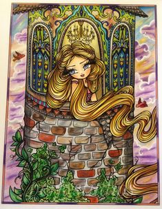 Rapunzel's Tower from Fairy Tale Princesses and Storybook Darlings by Hannah Lynn Cute Wallpaper Backgrounds, Cute Wallpapers, Colouring Pages, Coloring Books, Hannah Lynn, Chibi Girl, Disney Fairies, Fairy Art, Colorful Drawings