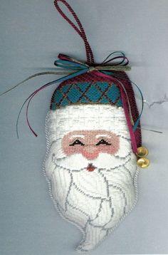 HP Needlepoint 18ct Carol Travis Six Scintillating Santas Chuck Guide CD22   eBay