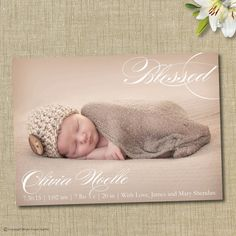 Birth announcement. Blessed.  by brownpaperstudios, $15.00