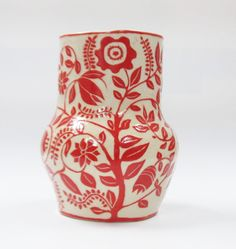 Handmade Pottery VASE Bright Red & White Floral Sgraffito Carved Flowers. via Etsy.