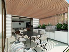 Diseño de cocinas exteriores preciosas e innovadoras ¡Te van a encantar! Terrazzo, Conference Room, Outdoor Decor, Table, Furniture, Home Decor, Garden, Rustic Industrial, Swiming Pool