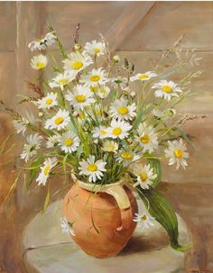 """""""Ox-eye Daisies in an Earthenware Jug"""" ~ Oil Painting by Anne Cotterill . Acrylic Flowers, Watercolor Flowers, Watercolor Paintings, Original Paintings, Daisy Painting, Painting & Drawing, Art Floral, Flower Vases, Flower Art"""