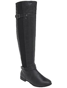 "Avg. 18"" circumference / Over the knee stretch boot in brown or black by Lane Bryant $84.95"