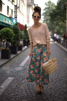 American Apparel Crochet Top, Fashion Union Floral Palazzo Pants,Solestruck Jeffrey Campbell Platforms, Vintage Basket Bag, ASOS Sunglasses (image: befrassy)