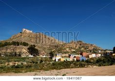 Spanish color, houses of Jumilla (Spain) and castle
