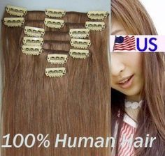 """Full Head 16"""" 100% REMY Human Hair Extensions 7Pcs Clip in #6 Med Chestnut Brown by Hair faux You. $49.99. 100% human hair, can be curled, dyed, straightened;. High quality, tangle free, silky soft & thick;. Easy to attach and remove, totally DIYable.. High quality metal clip, corresponding colors looks natural;. Full Head 16"""" 100% REMY Human Hair Extensions 7Pcs Clip in #6 Med Chestnut Brown. You are bidding on a brand new, Full Head 16"""" 100% REMY Human Hair Extensions 7..."""