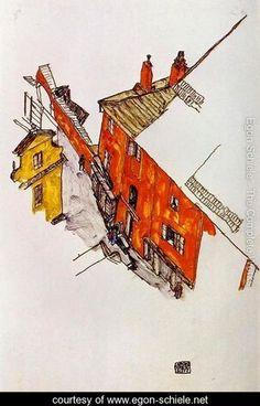 Street In Krumau - Egon Schiele - www.egon-schiele.net