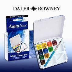 Daler-Rowney-Mini-travel-set-of-10-Aquafine-Watercolour-paints-tin-box