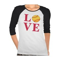 Zazzle Love Softball T-shirt (32 AUD) ❤ liked on Polyvore featuring tops, t-shirts, white tops, white t shirts en white tee