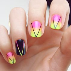 Ombre pink and yellow nail art with ring finger accent