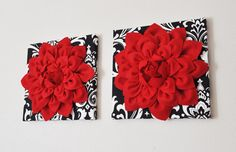 """Wall Hanging Set - Red Dahlia Flowers On Black And White Damask Print 12 x 12 """" Canvas Wall Art - Baby Nursery Wall Decor - Bathroom Red, Bathroom Wall Decor, Nursery Wall Decor, Bathroom Ideas, Bathrooms, Paris Bathroom, French Bathroom, Bathroom Pictures, Bathroom Cabinets"""
