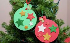 DIY easy christmas craft ideas foam tree ornaments and stars