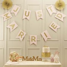 I've just found Pastel Pink And Gold Glitter Just Married Bunting. Stunning 'Just Married' pastel pink and gold glitter flag bunting. Pastel Wedding Theme, Pastel Pink Weddings, Wedding Bunting, Pink And Gold Wedding, Gold Wedding Decorations, Glitter Wedding, Garland Wedding, Reception Decorations, Room Decorations