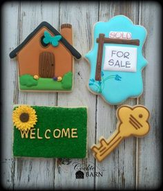 Realtor New Home House Warming Home Sweet Home  Decorated Sugar Cookies by CookieBarn on Etsy https://www.etsy.com/listing/223908469/realtor-new-home-house-warming-home
