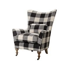 "Rio 35"" Upholstered Chair in Check Please Thunder 