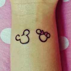 Minnie & mickey mouse disney tattoo. be cute matching minnie for wife. mickey for husband.