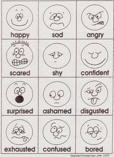 Emotions cards- Easy to draw!You can find Charts for classroom ideas and more on our website.Emotions cards- Easy to draw! Emotions Cards, Feelings And Emotions, Feelings Chart, Expressing Feelings, English Activities, Preschool Activities, Feelings Preschool, English Lessons, Learn English