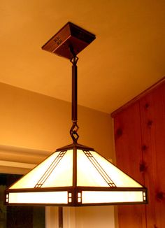 Craftsman ceiling fixture over the kitchen sink