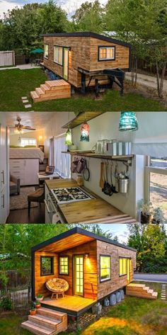 Tiny House Built On The Bed Of A Flatbed Trailer. Great tiny house for Gran or Pa or both.
