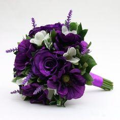 Artificial Silk Wedding Flowers - Handtied of Purple