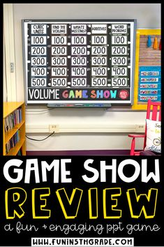 This Volume Game Show is a fun and engaging way to review math skills. This Jeopardy style math game show will keep your entire class engaged as they play and review finding volume of solid figures, rectangle prisms, relate volume to multiplication and division and MORE! Great for 5th grade and 6th grade!  Can be played on Google Slides or PowerPoint! Fun Math Games, Number Games, Vocabulary Games, Class Games, Measurement Games, Fraction Games, Fraction Activities, Math Websites, School