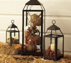fall outside decorations | fall style using hay fall leaves and pumpkins pottery barn