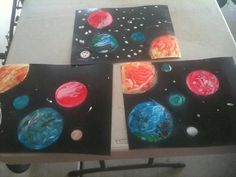 Solar System art....you can do this with 3 to 4 year olds- Finger paint and varied sized lids. Thanks to Ben Roy.