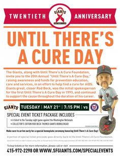 """PrintJoin us for the 20th Annual """"Until There's A Cure"""" SF Giants Game! Tues, May 21 at 7:15pm vs Washington Nationals"""