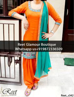 Adorable Orange And Teal Punjabi Suit Product Code : Reet_s342 To Order, Call/Whats app On +919872336509 We Offer Huge Variety Of Punjabi Suits, Anarkali Suits, Lehenga Choli, Bridal Suits,Sari, Gowns Etc .We Can Also Design Any Suit Of Your Own Design And Any Color Combination