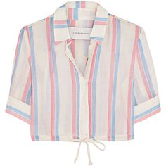 Solid and Striped Cropped striped cotton top ($83) ❤ liked on Polyvore featuring tops, crop top, shirts, blouses, red, cut-out crop tops, stripe crop top, pink top, striped top and pink striped top