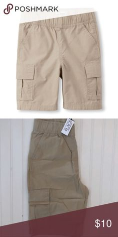 Children's place Cargo shorts A comfy and convenient style for your on-the-go guy! Made of 100% cotton mini ripstop Pull-on style with elasticized waistband Inner adjustable button tabs for a custom fit 2 side pockets 2 hook-and-loop close cargo pockets 1 back pocket Faux fly Imported  Big Fashion, Little Prices Children's Place Bottoms Shorts