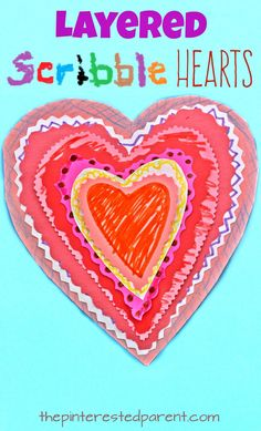 Layered Scribble Hearts. Arts and Crafts for kids. This is a great cutting and fine motor activity and is perfect for Valentine's Day